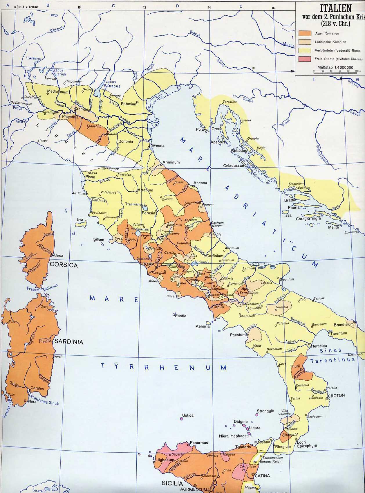 Römisches Reich Karte.12b Der Stadtstaat Rom