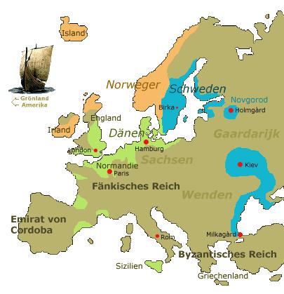 Haithabu Karte.15a Die Wikinger Epoche In Europa Island Und Gronland