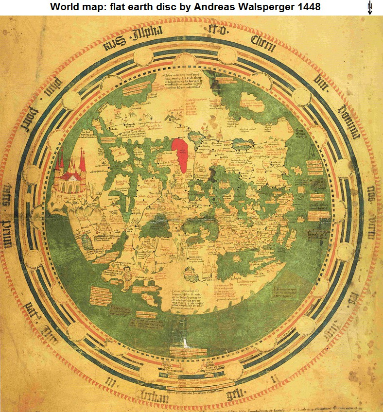Astronomy earth is a globe earth is round earth is an oval world map flat earth disc by andreas walsperger 1448 north is on the bottom map06 big version wikipedia gumiabroncs Images