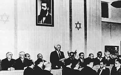 Racist Zionist Free Mason Ben Gurion In 1948 During Foundation Of Israel  Speech Without Definition Of ...